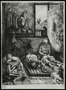 Drawing by A. de Groot, made in Camp Tjikoedapateuh (15th Bat.) in March 1944.<br/>NIOD 179578 <a class=uline href=http://www.beeldbankwo2.nl target=_blank>Beeldbank WO2</a>