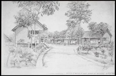 Barakken 1 en 2 in het Lintangkamp bij Kuching. Tekening van A. Krijgsman, 4 september 1945.<br/>NIOD 179828 <a class=uline href=http://www.beeldbankwo2.nl target=_blank>Beeldbank WO2</a>