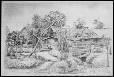 Mandikamer en scheertent in kamp Batu Lintang bij Kuching. Tekening van A. Krijgsman, 4 september 1945.<br/>NIOD 179829 <a class=uline href=http://www.beeldbankwo2.nl target=_blank>Beeldbank WO2</a>