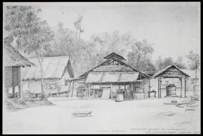 Keuken en waterkokerij in kamp Batu Lintang bij Kuching. Tekening van A. Krijgsman, 1945.<br/>NIOD 179830 <a class=uline href=http://www.beeldbankwo2.nl target=_blank>Beeldbank WO2</a>
