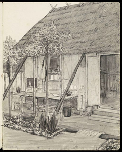 Shed 2 in Kampili Camp. Drawing by G. v.d. N.<br/>NIOD 179945 <a class=uline href=http://www.beeldbankwo2.nl target=_blank>Beeldbank WO2</a>