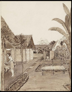 Shed 6 in Kampili Camp. Drawing by G. v.d. N.<br/>NIOD 179946 <a class=uline href=http://www.beeldbankwo2.nl target=_blank>Beeldbank WO2</a>