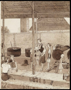 A kitchen in Kampili Camp. Drawing by G. v.d. N.<br/>NIOD 179948 <a class=uline href=http://www.beeldbankwo2.nl target=_blank>Beeldbank WO2</a>