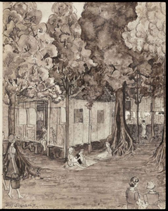 The Boskamp (Forest Camp). Drawing by G. v.d. N.<br/>NIOD 179953 <a class=uline href=http://www.beeldbankwo2.nl target=_blank>Beeldbank WO2</a>