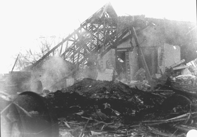The hospital in Kampili Camp after the second bombardment, 1945.<br/>NIOD 57477 <a class=uline href=http://www.beeldbankwo2.nl target=_blank>Beeldbank WO2</a>