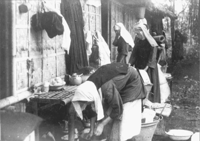 Nuns in the Boskamp (Forest Camp), 1945.<br/>NIOD 57482 <a class=uline href=http://www.beeldbankwo2.nl target=_blank>Beeldbank WO2</a>