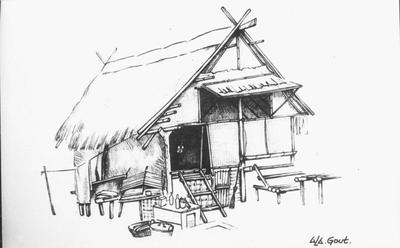 Huisje van de 'hombo'-ploeg, die corveediensten voor de Japanse intendance van de bewakingsdienst verrichtte. Reproductie van een kampschets van A.L.A. Gout.<br/>NIOD 57883 <a class=uline href=http://www.beeldbankwo2.nl target=_blank>Beeldbank WO2</a>