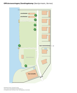 "Plattegrond van de officierswoningen en Huis Scheffer in Bandjermasin <a href=""http://files.archieven.nl/963/f/kampen/borneobandjermasinvrouwen.pdf"" target=""_blank"">(pdf)</a>"