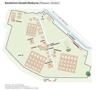 "Map of the Sanatorium Kampili/Boskamp in Makassar (Celebes) <a href=""http://files.archieven.nl/968/f/kampen/celebesmakassarkampili.pdf"" target=""_blank"">(pdf)</a>"