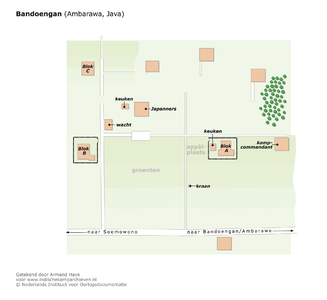"Plattegrond van het kamp bij Bandoengan in de buurt van Ambarawa, Java <a href=""http://files.archieven.nl/963/f/kampen/javaambarawabandoengan.pdf"" target=""_blank"">(pdf)</a>"