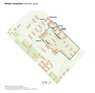 "Plattegrond van het Militair Hospitaal in Tjimahi, Java <a href=""http://files.archieven.nl/963/f/kampen/javatjimahimilitairhospitaal.pdf"" target=""_blank"">(pdf)</a>"