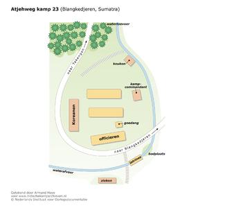 "Map of camp 23 at the Atjehweg (near Blangkedjeren, Sumatra) <a href=""http://files.archieven.nl/968/f/kampen/sumatraatjehweg.pdf"" target=""_blank"">(pdf)</a>"