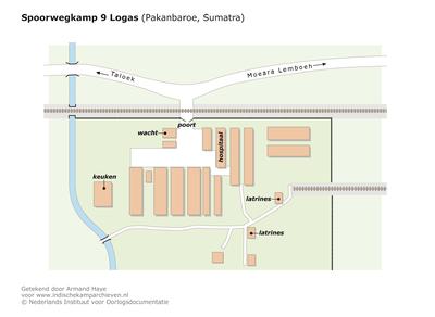 "Map of Railway camp 9 near Logas (Pakanbaroe, Sumatra) <a href=""http://files.archieven.nl/968/f/kampen/sumatrapakanbaroelogas.pdf"" target=""_blank"">(pdf)</a>"