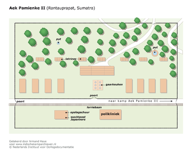 "Map of camp Aek Pamienke II (Rantauprapat, Sumatra) <a href=""http://files.archieven.nl/968/f/kampen/sumatrarantauprapataekpamienke2.pdf"" target=""_blank"">(pdf)</a>"
