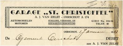 Een briefhoofd van garage St. Christoffel van A.J. van Zelst, voor stalling, verhuur- en reparatie-inrichting