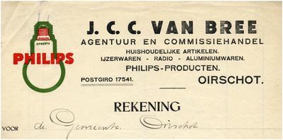 Een briefhoofd van de agentuur en commissiehandel van J.C.C. van Bree, voor huishoudelijke artikelen, ijzerwaren, radio's, aluminiumwaren en Philipsproducten