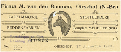 Een briefhoofd van de firma M. van den Boomen. De firma bestaat uit de volgende onderdelen een zadelmakerij, een stoffeerderij, een beddenfabriek en levering van complete meubileering