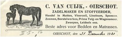 Een briefhoofd van zadelmaker en stoffeerder C. van Cuijck
