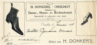 Een briefhoofd van H. Donkers, fabrikant van Dames-, Heeren- en Kinderschoeisel
