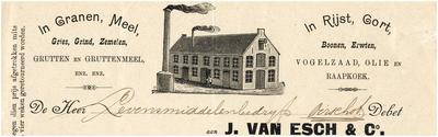 Een briefhoofd van J. van Esch & Co, handelaar in onder andere granen, zaden en olie