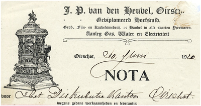 Oirschot Een briefhoofd van J.P. van den Heuvel gediplomeerd hoefsmid. Smederij, handel in ijzerwaren, aanleg gas, water en electriciteit