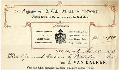 Oirschot Magazijn van D. van Kalken, oudste firma in kerkornamenten in Nederland. Hofleverancier