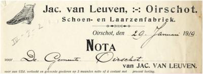 Oirschot Een briefhoofd van de schoen- en laarzenfabriek van Jac. van Leuven.
