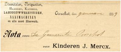Oirschot Een briefhoofd van Kinderen J. Mercx, voor steenkolen, haarden, kachels landbouwwerktuigen en naaimachines