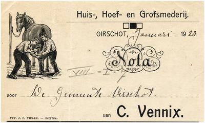 Oirschot Een briefhoofd van de huis-, hoef- en grofsmederij van C. Vennix