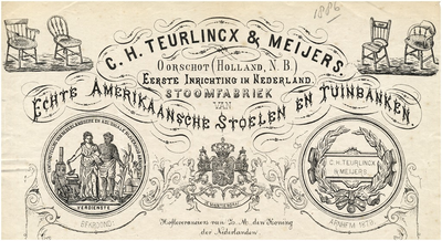 Oirschot Een briefhoofd van C.H. Teurlinckx & Meijers, de stoomfabriek van echte Amerikaansche stoelen en tuinbanken