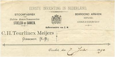 Oirschot Een briefhoofd van C.H. Teurlincx Meijers. Eerste inrichting in Nederland. Stoomfabriek van echte Amerikaansche stoelen en banken