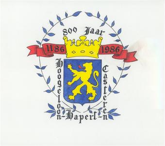 Gelegenheidsvignet van het wapen van de gemeente Hoogeloon, Hapert, Casteren bij de viering van het 800 jarig bestaan