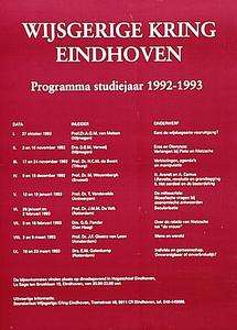 Programma voordrachten wijsgerige kring in Hogeschool Eindhoven