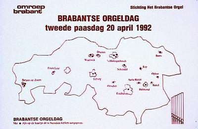 Affiche van Omroep Brabant van de Brabantse orgeldag in diverse kerken in Brabant