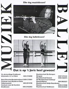 Affiche over vooropleiding ten behoeve van conservatorium en dansacademie in diverse plaatsen in Brabant