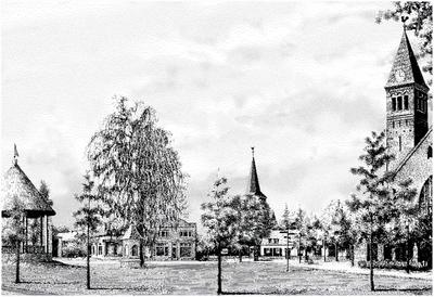 Serie van 6 computertekeningen waarop het station (Aalst-Waalre, 1920), St. Willibrorduskerk (Waalre), de boerderij van Mie Peels (Aalst, 1910) de Eindhovenseweg (Aalst, 1925), de markt (Waalre) en de windmolen (Waalre, 1937)