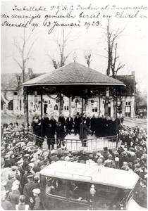 Installatie van P.G.A.G. Panken als burgemeester van  Groot-Eersel , bestaande uit Eersel, Duizel en Steensel