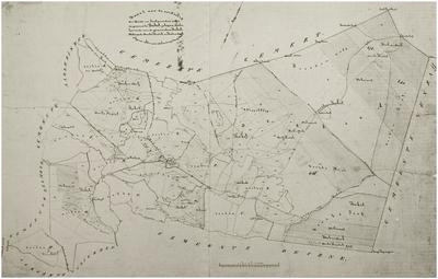 Reproductie van een kaart van de gemeente Bakel met daarop aangegeven op welke manier de gronden volgens de overeenkomst van 1 juni 1864 verdeeld worden tussende gerechtigde gemeenten Bakel, Helmond, Aarle-Rixtel en Beek en Donk.
